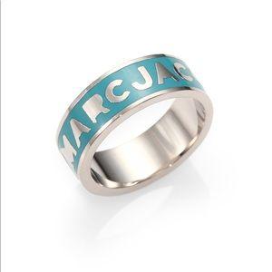 Turquoise marc Jacobs enamel logo ring size 7